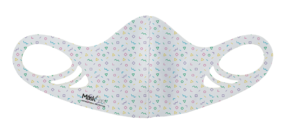 An antimicrobial, breathable, comfortable and washable confetti pattern printed spacer face mask for kids